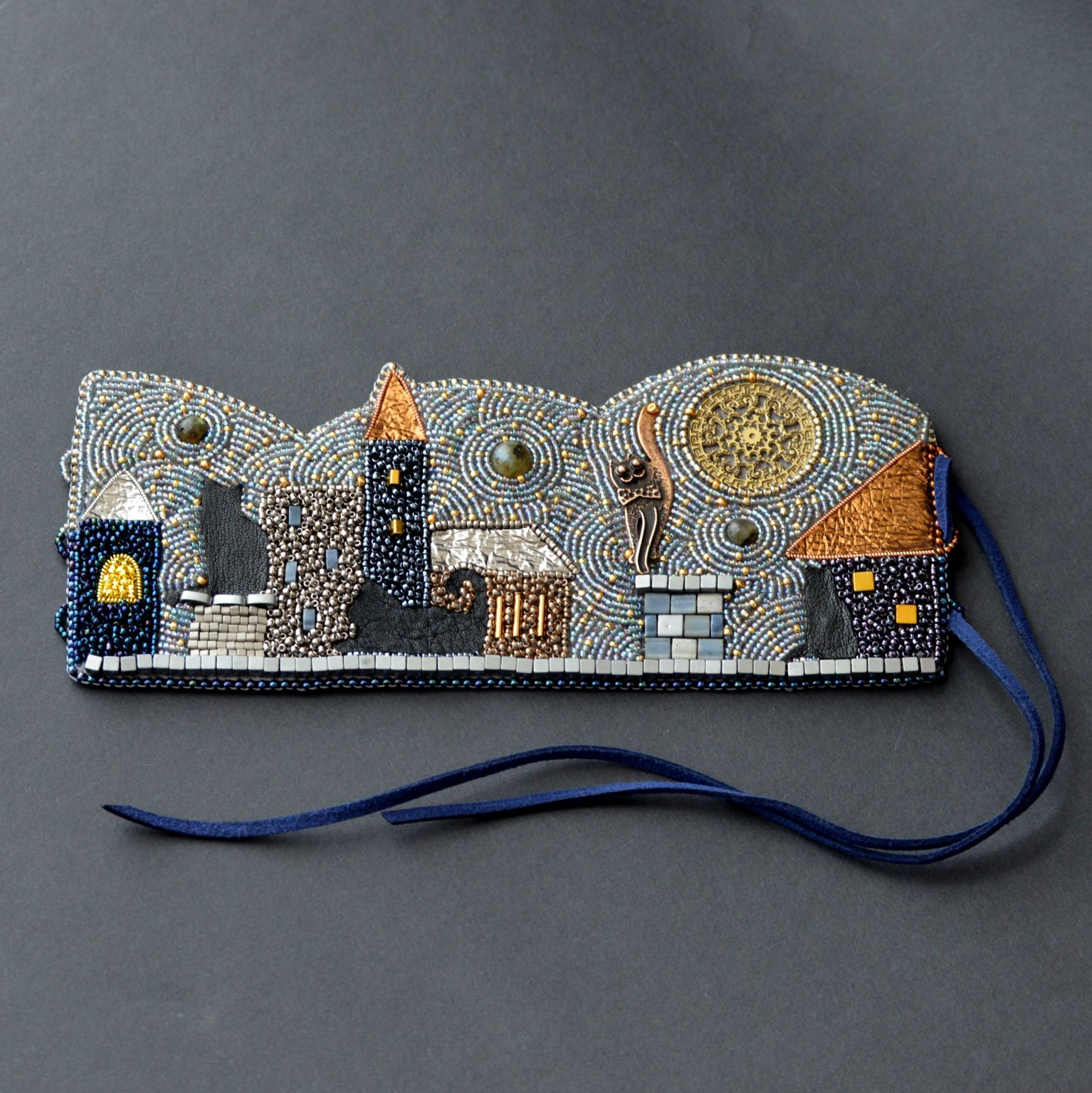 Black cats bead embroidered cuff