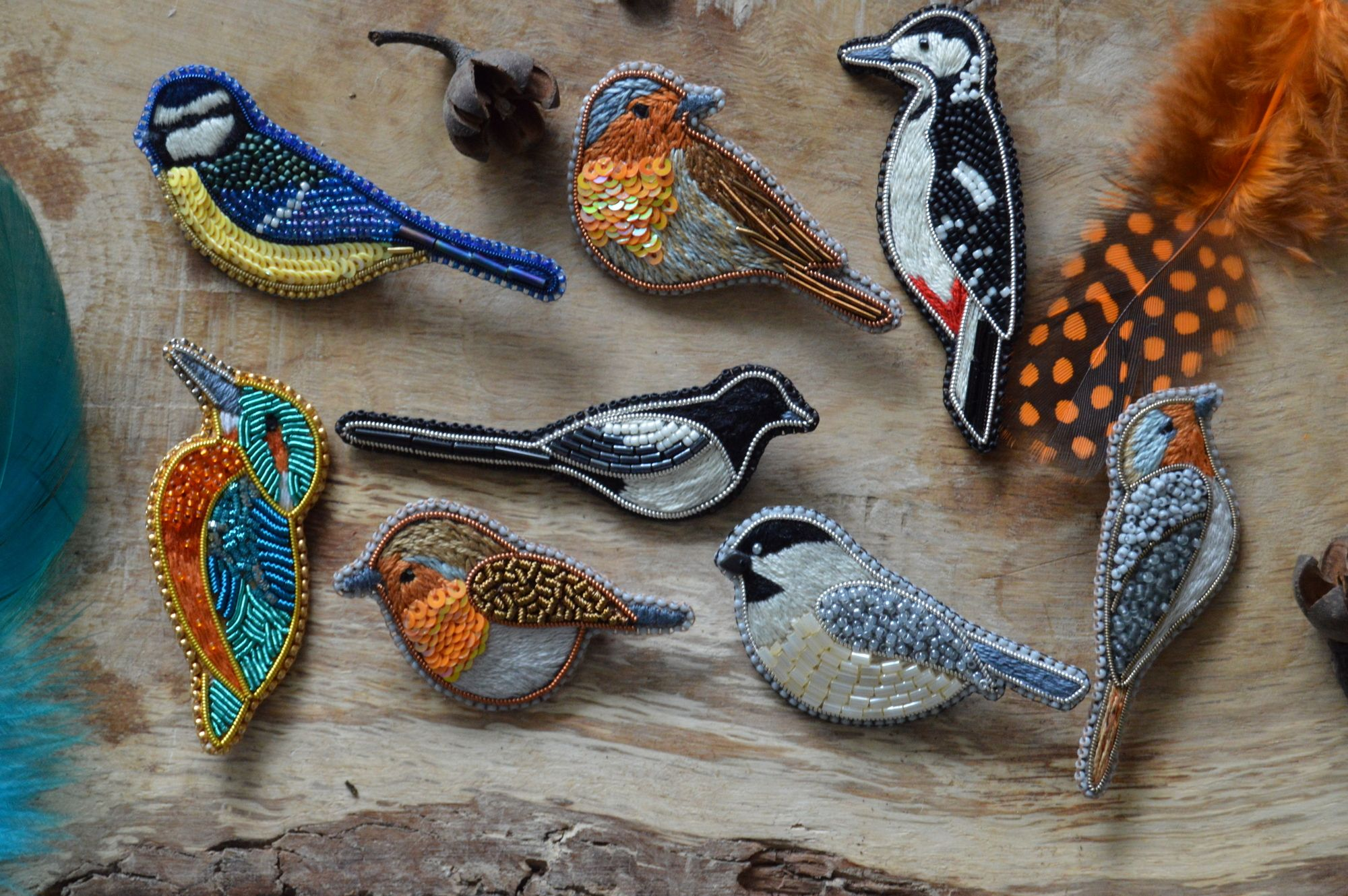 Embroidered bird brooches