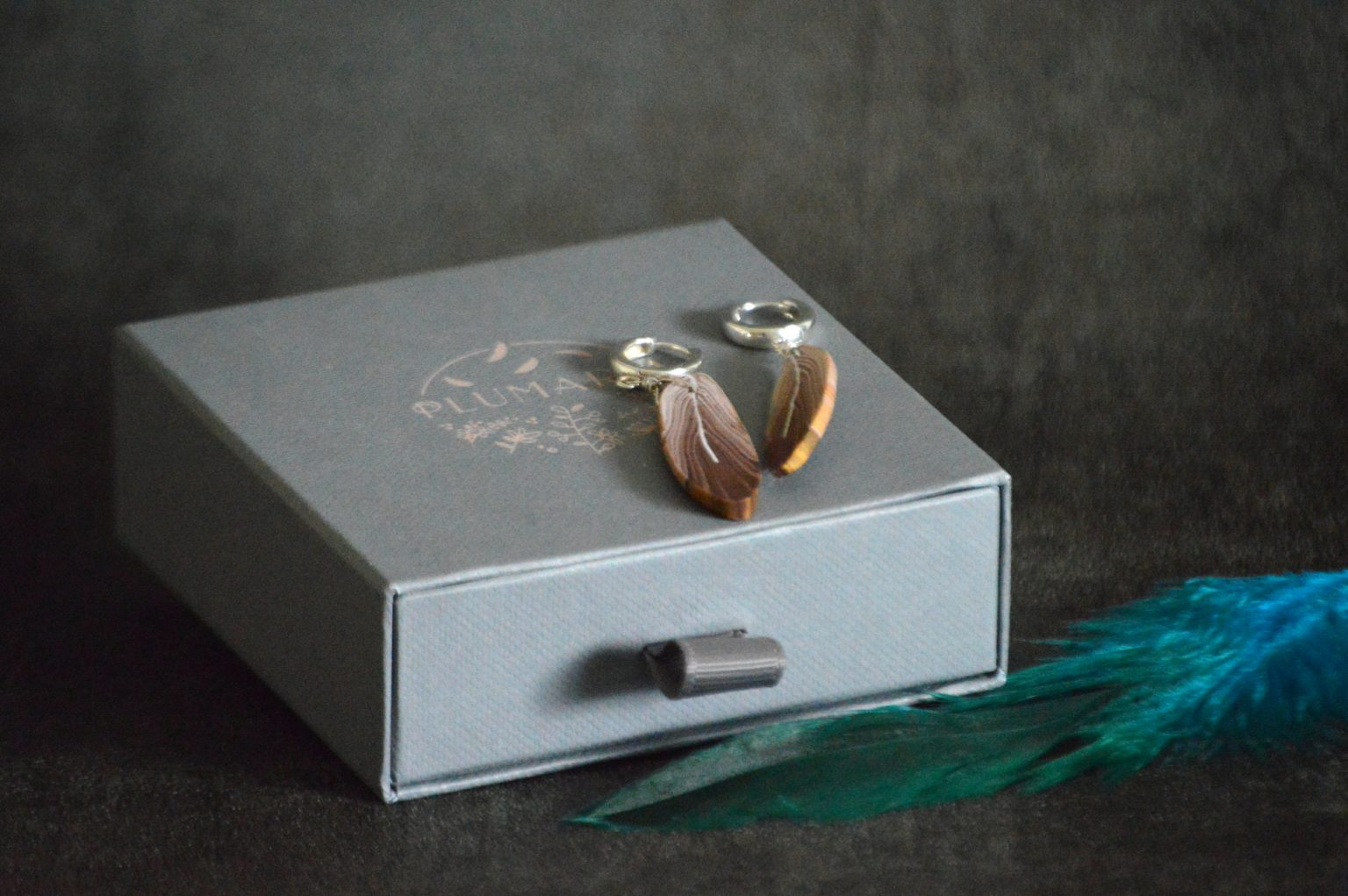 Brown feather earrings