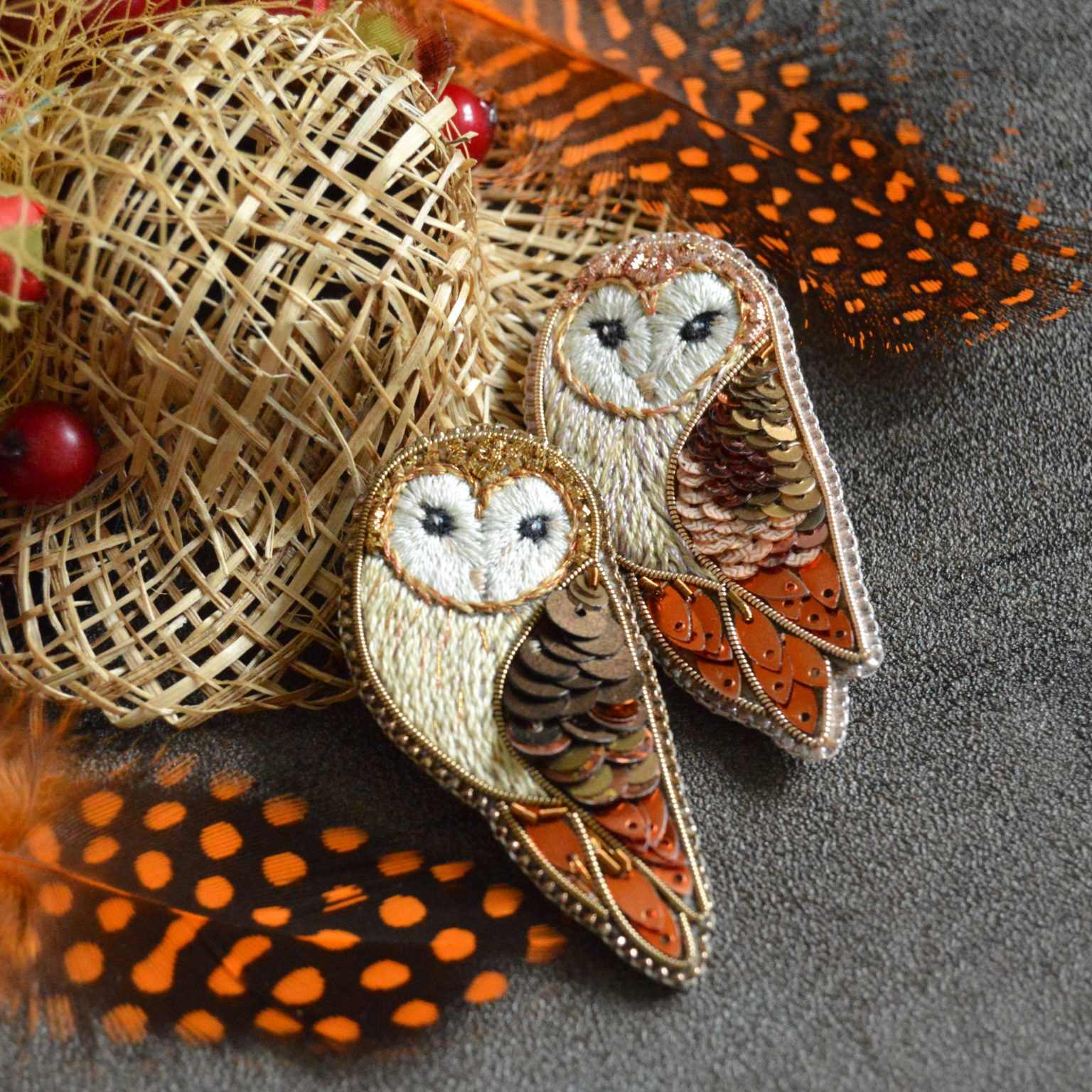 Two barn owl brooches