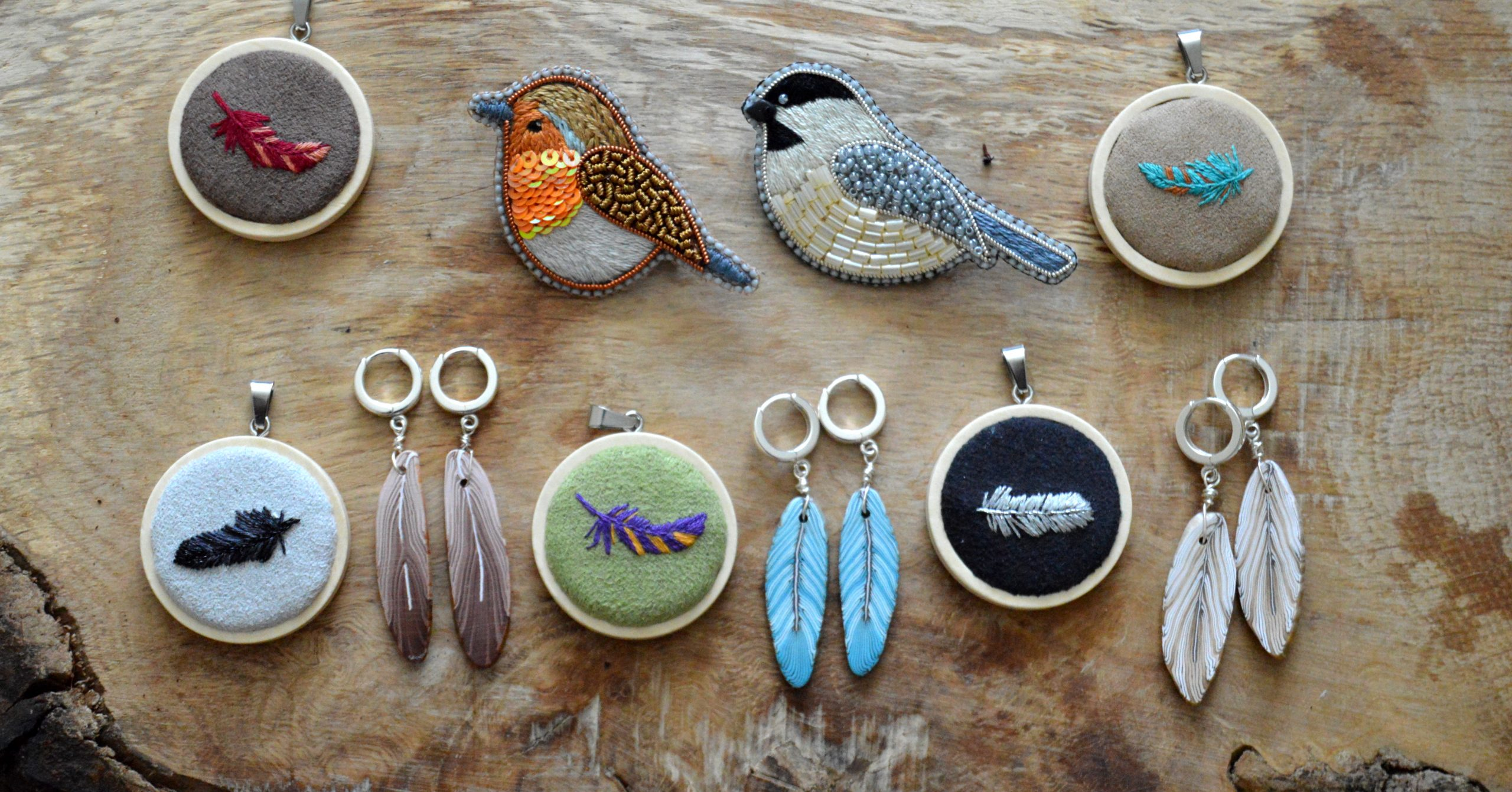Collection of birds and feather jewellery