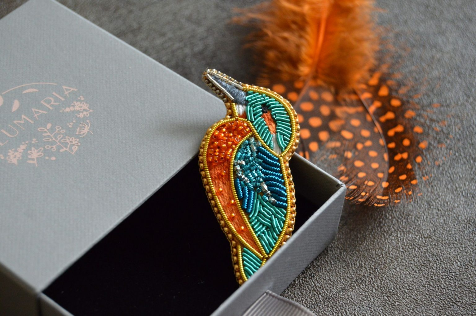 Kingfisher goldwork and embroidery brooch