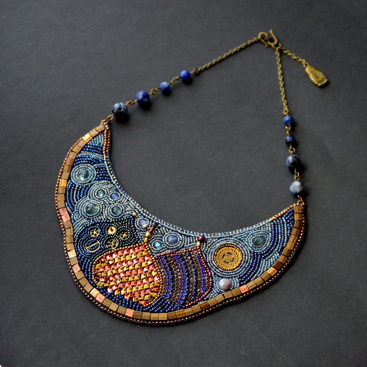Russian domes in bead embroidery necklace